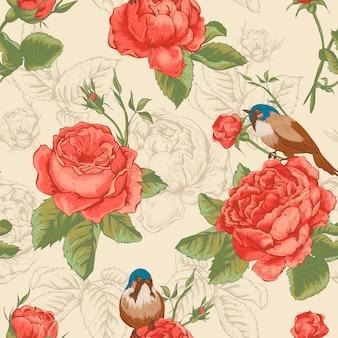 Modello senza cuciture floreale botanico con rose e uccelli
