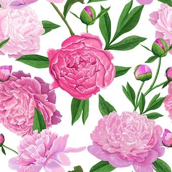 Modello senza cuciture floreale con fiori di peonia