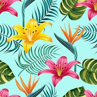 Modello senza cuciture floreale con foglie sfondo tropicale