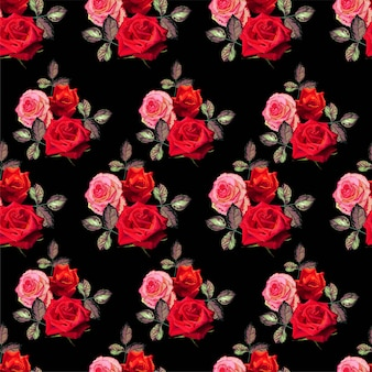 Modello senza cuciture floreale con l'illustrazione di vettore di rosa