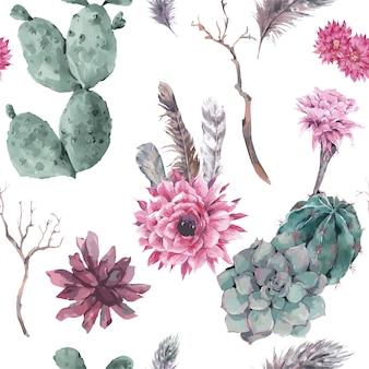 Modello senza cuciture floreale con rami e succulente