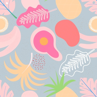 Modello senza cuciture floreale contemporaneo del collage. frutti e piante esotici moderni della giungla. il design creativo lascia il modello