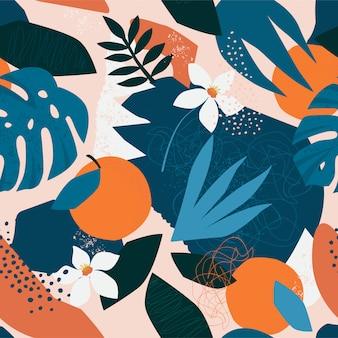 Modello senza cuciture floreale contemporaneo del collage. frutti e piante moderni della giungla esotica