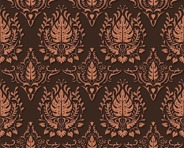Modello senza cuciture floreale decorativo di brown del caffè