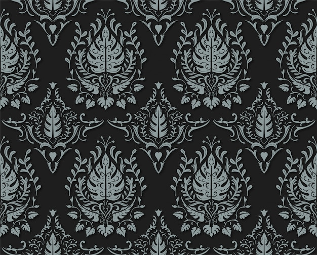Modello senza cuciture floreale decorativo nero opaco