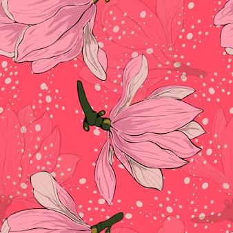 Modello senza cuciture floreale dei fiori rosa della magnolia.