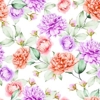 Modello senza cuciture floreale dell'acquerello bello