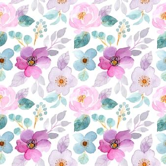Modello senza cuciture floreale dell'acquerello morbido viola e verde