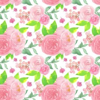 Modello senza cuciture floreale dell'acquerello rosa con belle rose
