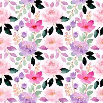 Modello senza cuciture floreale dell'acquerello viola rosa