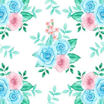 Modello senza cuciture floreale delle rose rosa e blu dell'acquerello