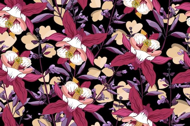 Modello senza cuciture floreale di arte. colombina rosa e bianca del giardino aquilegia