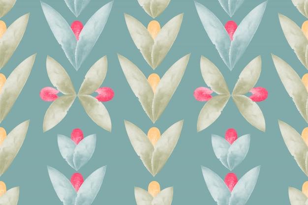 Modello senza cuciture floreale di arte con i fiori e le foglie dell'acquerello.