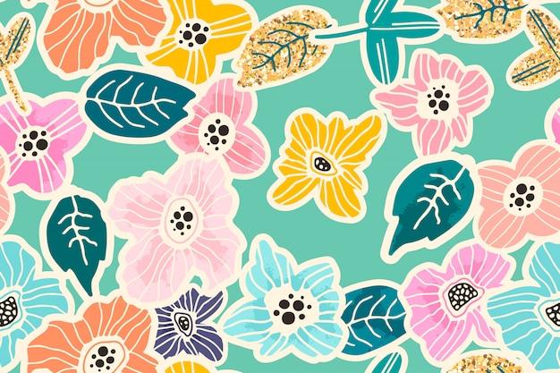 Modello senza cuciture floreale disegnato a mano colorato