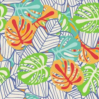 Modello senza cuciture floreale foglia tropicale.