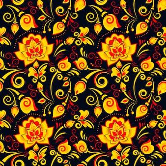 Modello senza cuciture floreale in khokhloma di stile russo