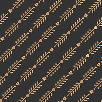 Modello senza cuciture floreale oro astratto sfondo scuro senza limiti, elegante linea dorata ripetizione geometrica ornamento.