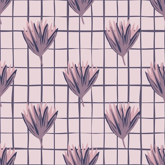 Modello senza cuciture floreale semplice con boccioli di tulipano. ornamento di fiori viola su sfondo grigio con assegno.