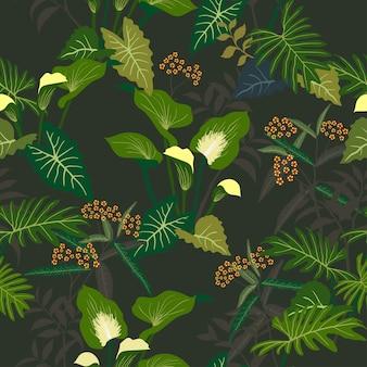 Modello senza cuciture floreale tropicale e foglie sulla notte di estate scura