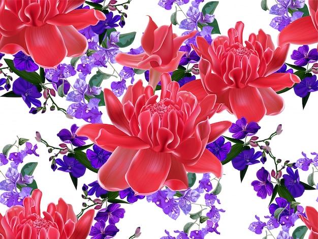 Modello senza cuciture floreale tropicale
