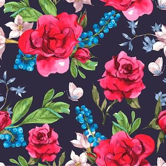 Modello senza cuciture floreale vintage con rose e fiori selvatici