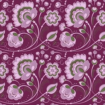 Modello senza cuciture floreale viola in stile slavo