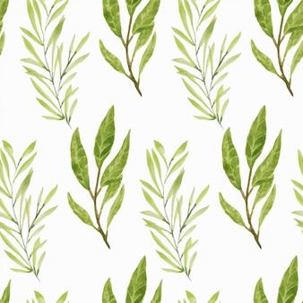 Modello senza cuciture foglia verde fogliame dell'acquerello