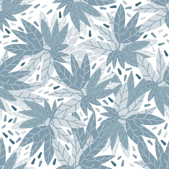 Modello senza cuciture foglie blu semplice