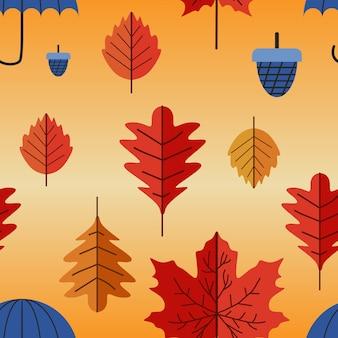 Modello senza cuciture foglie colorate d'autunno