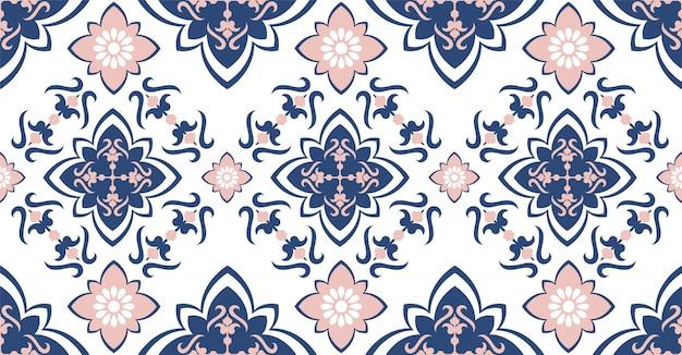 Modello senza cuciture geometrico blu rosa in stile africano con forma quadrata, tribale