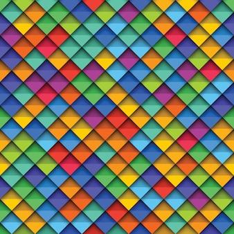 Modello senza cuciture geometrico colorato con carta tagliata elementi realistici.