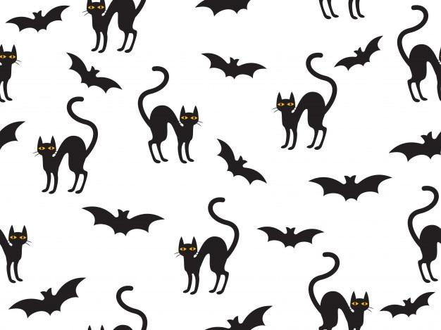 Modello senza cuciture halloween con gatto e pipistrello