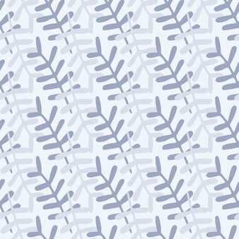 Modello senza cuciture ingenuo ornamento di rami. elementi botanici su toni pastello blu su sfondo chiaro. semplice sfondo.