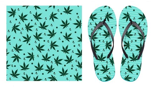 Modello senza cuciture leggero con foglie di cannabis e macchie astratte. disegno a motivo per la stampa su infradito.