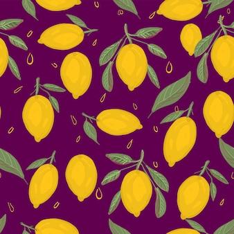 Modello senza cuciture limoni freschi sulla porpora