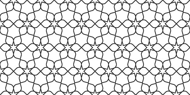 Modello senza cuciture linea floreale in stile orientale, ornamento delicato, trama in bianco e nero