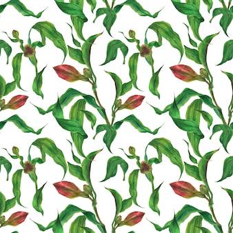 Modello senza cuciture luminoso dell'acquerello con germogli e foglie rossi di alstroemeria