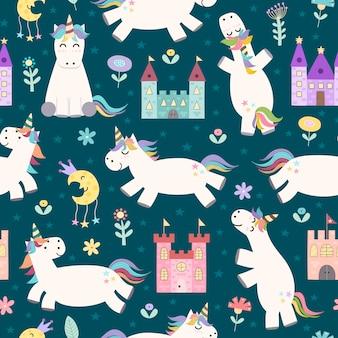 Modello senza cuciture magico con carino piccolo unicorno e castelli