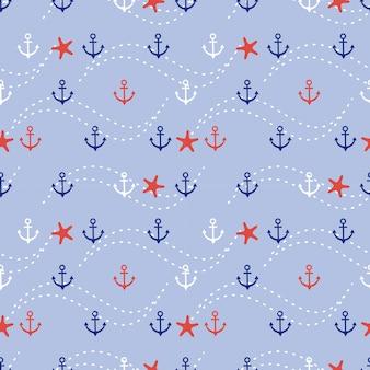 Modello senza cuciture marino di ancoraggio e stelle marine.