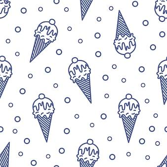 Modello senza cuciture moderno con il gelato in cono del wafer, della cialda o di zucchero disegnato con le linee di contorno su fondo bianco. illustrazione in stile lineare per carta da imballaggio, stampa su tessuto, carta da parati.