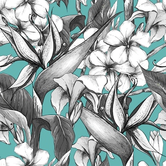 Modello senza cuciture monocromatico con fiori esotici