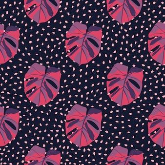 Modello senza cuciture monstera colorato viola e rosa. tropic lascia su sfondo punteggiato viola scuro.
