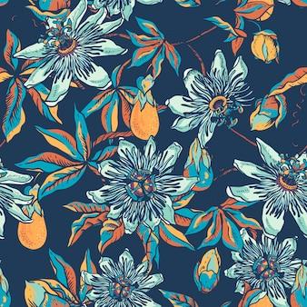 Modello senza cuciture naturale floreale blu vintage. tessitura passiflora