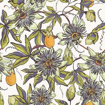 Modello senza cuciture naturale floreale vintage. biglietto di auguri passiflora, fiori, foglie