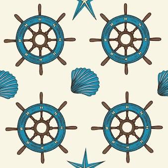 Modello senza cuciture nautico con conchiglie e ruota di vettore disegnato a mano
