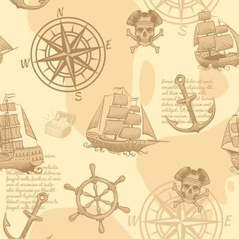 Modello senza cuciture nautico vintage mano che disegna la vecchia struttura marina della carta da parati del manoscritto di viaggio di avventura di schizzo