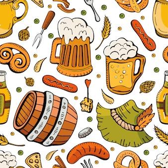 Modello senza cuciture oktoberfest disegnato a mano di doodle. modello di fumetto retrò di bevande birra con sfondo senza soluzione di continuità