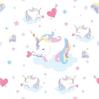 Modello senza cuciture pastello con sonno dell'unicorno