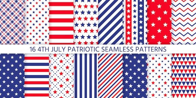 Modello senza cuciture patriottico americano. illustrazione. 4 luglio stampe blu e rosse.