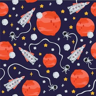 Modello senza cuciture per bambini spaziali con pianeti, razzo in stile cartone animato. trama carina per il design della camera dei bambini
